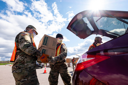 Members of the Vermont National Guard will be loading vehicles as part of the Farmers to Families food box program.