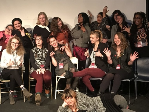 The leading women in horror movie-making gather for a group photo at Ax Wound Film Festival in 2017.