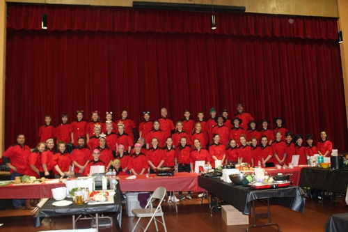 Twin Valley Middle High School's Jr. Iron Chef teams posed together last February, all vying for a chance to head to the state finals in Essex Junction.