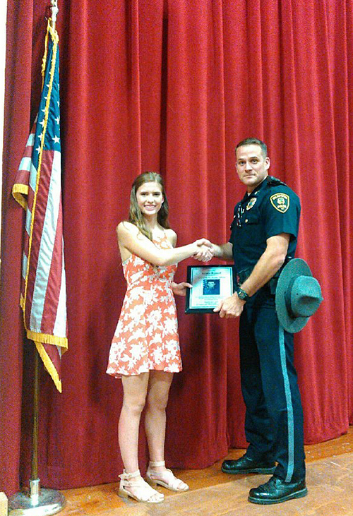 Sgt. Matthew Murano presented Twin Valley Middle High School student Grace Russell with the 1st Lt. Mark Dooley award in June.  Murano takes over the Wilmington Police Department from Joseph Szarejko, who retired last month.