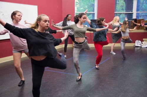 "This group of teens practice a routine for the upcoming production of ""Rags."""