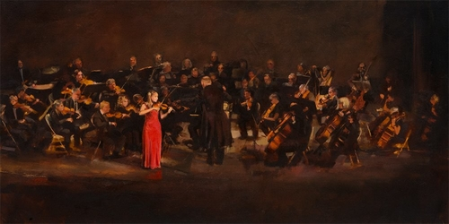 The Soloist with the Windham Orchestra under the direction of Hugh Keelan, an oil on canvas, by Deborah Lazar.