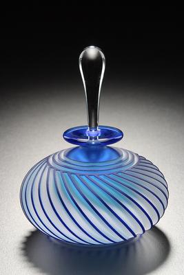 Blue twist perfume bottle, handblown and sandblast-carved by Mary Angus.