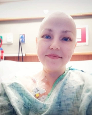 Megan Bratton, seen here in a hospital selfie, has been diagnosed with stage four cervical cancer.