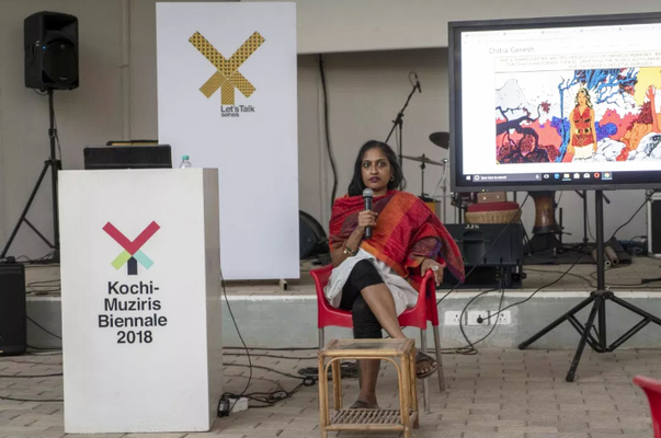 Chitra Ganesh gives a lecture in 2018.