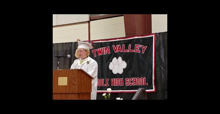Salutatorian Grace Rizio speaks at graduation last weekend.