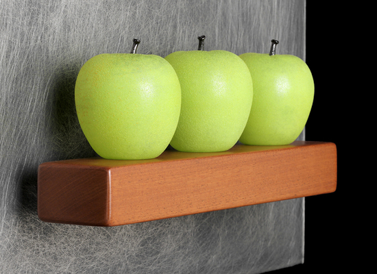 Three Green Apples, glass sculpture by Violette.