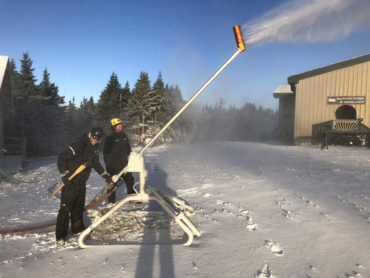 Kevin Harrington and Dean Parmiter were making snow at the summit of Mount Snow last week. The mountain is planning to open for the winter season on Saturday.  The October 27 opening is the earliest ever for the resort.                                           