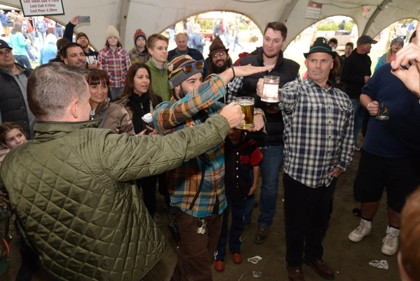 The stein holding contest is a favorite contest among  people.