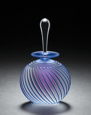 Aqua twist perfume bottle, handblown glass by Mary Angus, of Readsboro Glassworks.