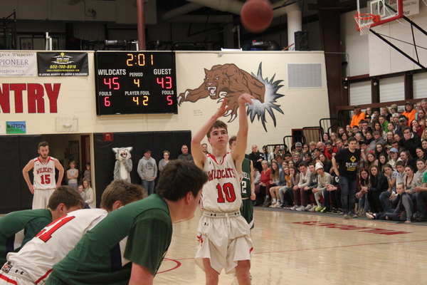 Colin McHale eyes a free throw during Twin Valley's win over Rivendell.  McHale's scrappy play helped lead the Wildcats to the victory.