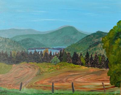 """Swirling Grasses above the Lake,"" painting by Bill Matuszeski, of Whitingham."