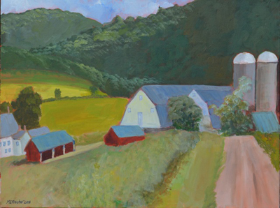 """""""Farm with Two Silos,"""" painting by Mary Procter, of Whitingham."""