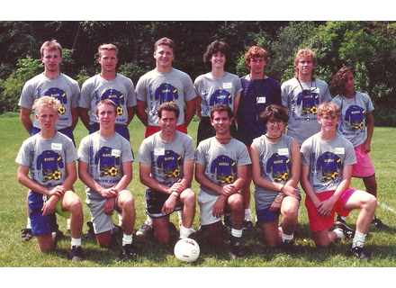 The first group of Deerfield Valley Soccer Camp coaches from 1990. Included in the photo are Buddy Hayford, Cindy Hayford, Brian Bernard, Duff Howe, Sean Pusey, Emile Willett, Marc Agresti, Adam Grinold, Missy Giove, Kevin Atwood, and Tricia Kramer.  Photos courtesy DVSC, DVN files