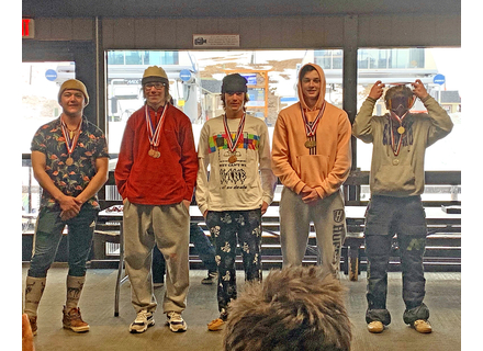 Slopestyle winners at the state championships, from left: Fifth place, Logan Boyd (Twin Valley); fourth place, Ryan Kelly (Burr & Burton Academy); third place, Tucker Baribault (BBA); second place, Griffin McFayden (BBA); and first place, Silas Trask (Bellows Free Academy). Photos courtesy Scott Salway