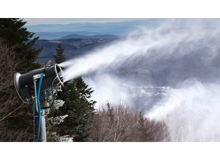 Fan guns were pumping out the snow on Canyon trail at Mount Snow.           Photo via Facebook