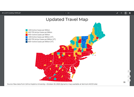 Regional travel map as of Tuesday, October 20.  People traveling to Vermont from green areas do not need to quarantine for two weeks when they enter the state.