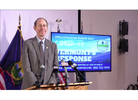 Vermont Health Commissioner Dr. Mark Levine at Tuesday's press conference.