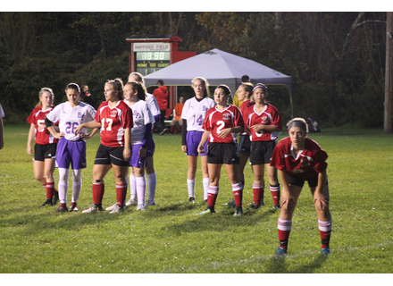 Players from Twin Valley and Bellows Falls wait for a corner kick to be played at Monday nights game.                            Photo by Randy Capitani