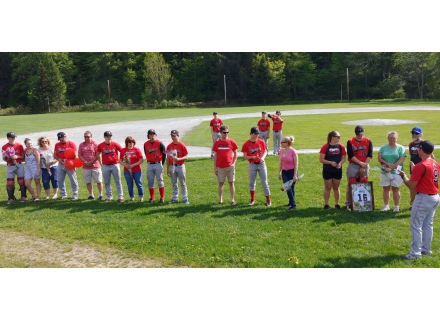 Senior baseball players Hayden Reed, Logan Park, James McGovern, and Joey Rafus, along with senior manager Jordyn Bolognani, were recognized along with their families before the final game of the season. 