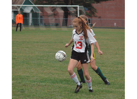 Brianna O'Hearn wokrs to control the ball against Green Mountain. 