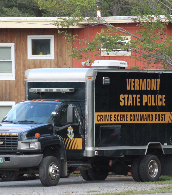 Crime scene investigators from the Vermont State Police were called to the Snow Creek Inn in Dover on Friday. A woman died from a gunshot wound there early Friday.         