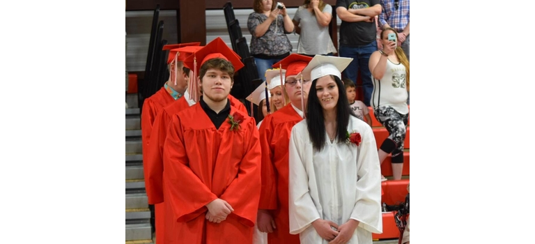 Twin Valley graduates Nicholas Smart and Brittany Janovsky wait to take their places during the processional Saturday afternoon.