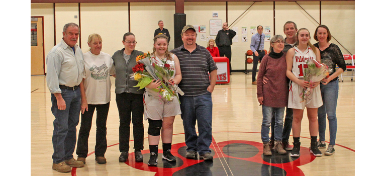 Twin Valley seniors Jesse Lazelle and Celia Betit celebrated their senior year with their families before the Wildcats' last home game. Photos by Randy Capitani