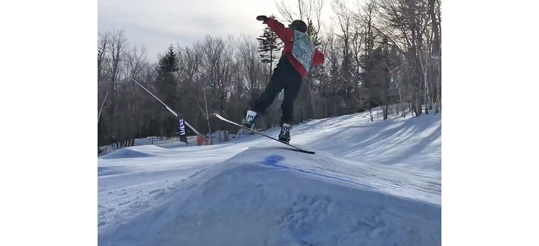 Twin Valley snowboard team rider Allen Cole shows off his moves during a slopestyle competition held Wednesday, February 5, at Bromley Mountain.  Photos by Scott Salway