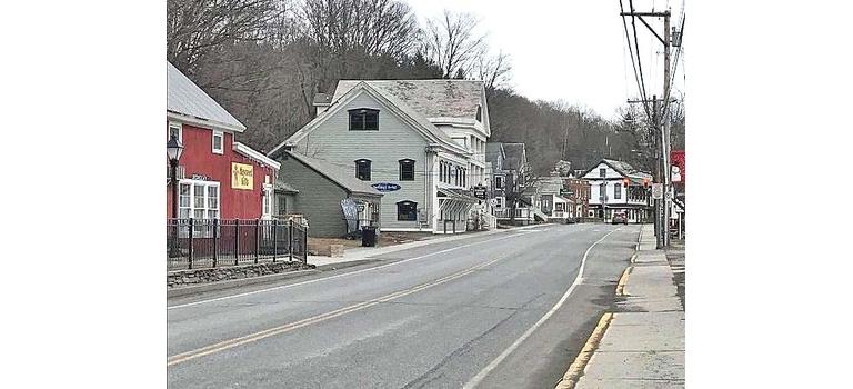 An empty Wilmington Village in March
