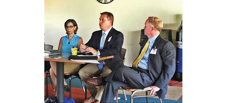BDCC director Adam Grinold, center, leads a discussion at the 2018 Southern Vermont Economy Summit, held in May at the Grand Summit Lodge at Mount Snow.