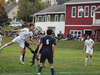 Twin Valley's Dylan Howe, left, scored on this header during the first half of Saturday's match with Stratton.  The Wildcats beat the Bears 6-2.                                      Photo by Therese Lounsbury