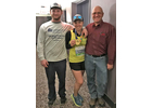 Molly Corse, center, flanked by her father Wayne Corse, right, and friend Justin Cameron after completing the New York City Marathon on November 3.