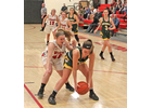 Twin Valley's Kylie Reed, 45, pressures Green Mountain's Mary Cameron during Wednesday's game.                  Photos by Randy Capitani