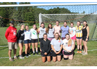 The 2019 Twin Valley girls' varsity soccer team. Front, from left: Sadie Boyd, Celia Betit, Jesse Lazelle. Back: Coach Robert Bolognani, Jayden Crawford, Tiffany Speigel, Kylie Reed, Hannah Sullivan, Rita Messing, Courtney Bobee, Jordyn Trowt, Megan Robart, Jazmyn Dix, and assistant coach Jordyn Bolognani. Missing: Alyssa Bird, Kara Bird, Brianna O'Hearn.                Photo by Randy Capitani